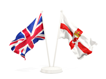 Two waving flags of UK and northern Ireland isolated on white. 3D illustration 스톡 콘텐츠 - 115427620