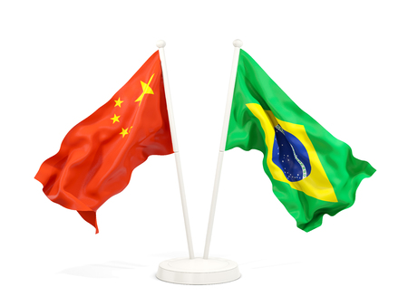 Two waving flags of China and brazil isolated on white. 3D illustration Stock Photo