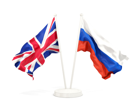 Two waving flags of UK and russia isolated on white. 3D illustration
