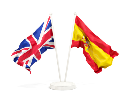 Two waving flags of UK and spain isolated on white. 3D illustration