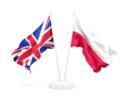 Two waving flags of UK and poland isolated on white. 3D illustration Фото со стока
