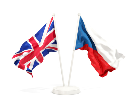 Two waving flags of UK and czech republic isolated on white. 3D illustration