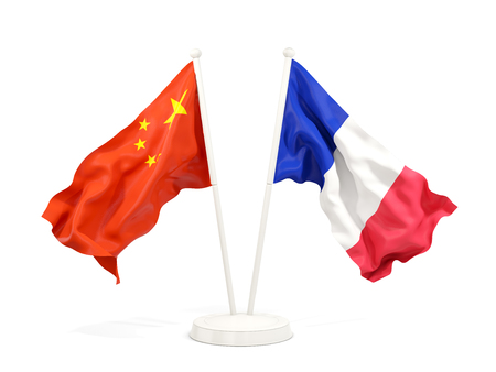 Two waving flags of China and france isolated on white. 3D illustration Stock Photo