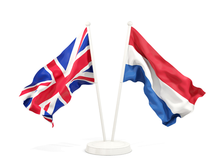 Two waving flags of UK and netherlands isolated on white. 3D illustration Imagens
