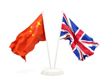 Two waving flags of China and UK isolated on white. 3D illustration