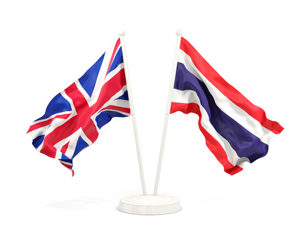 Two waving flags of UK and thailand isolated on white. 3D illustration