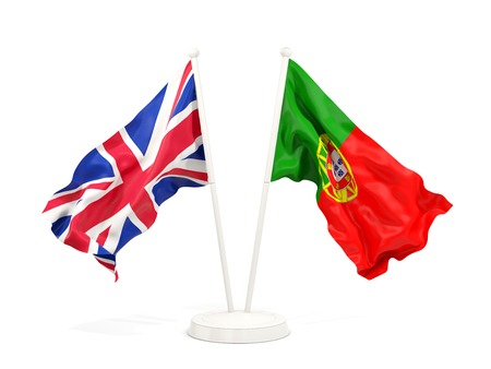 Two waving flags of UK and portugal isolated on white. 3D illustration