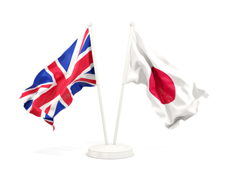 Two waving flags of UK and japan isolated on white. 3D illustration