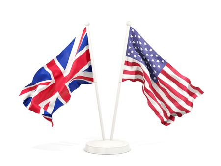 Two waving flags of UK and United States isolated on white. 3D illustration Фото со стока