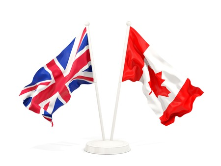 Two waving flags of UK and canada isolated on white. 3D illustration