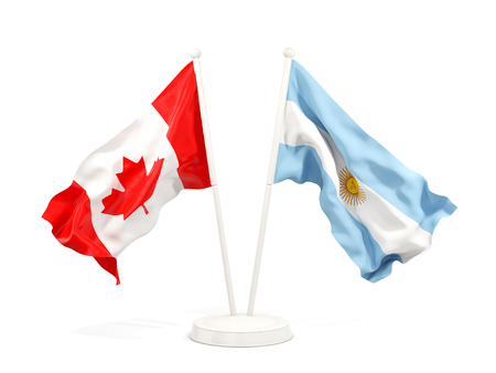 Two waving flags of Canada and argentina isolated on white. 3D illustration