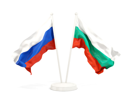 Two waving flags of Russia and bulgaria isolated on white. 3D illustration