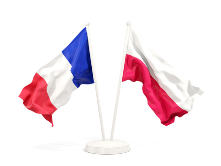 Two waving flags of France and poland  isolated on white. 3D illustration Banco de Imagens