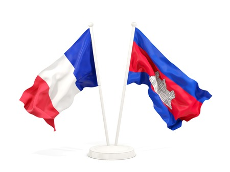 Two waving flags of France and cambodia  isolated on white. 3D illustration