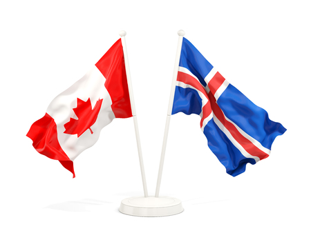 Two waving flags of Canada and iceland isolated on white. 3D illustration