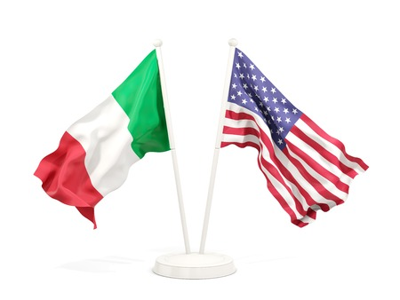 Two waving flags of Italy and United States isolated on white. 3D illustration