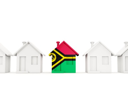 House with flag of vanuatu in a row of white houses. Real estate concept. 3D illustration