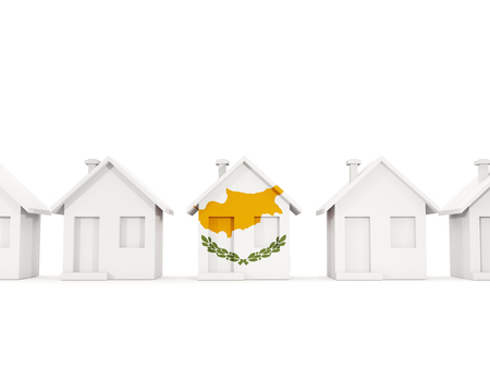 House with flag of cyprus in a row of white houses. Real estate concept. 3D illustration