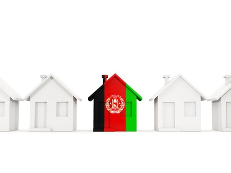 House with flag of afghanistan in a row of white houses. Real estate concept. 3D illustration