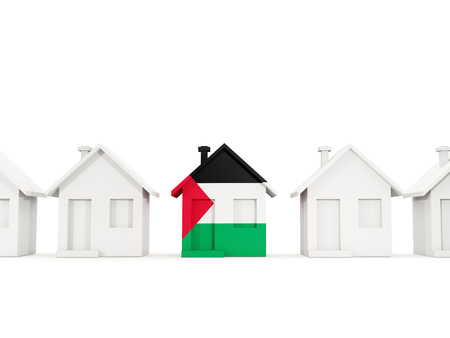 House with flag of palestinian territory in a row of white houses. Real estate concept. 3D illustration Stock Photo