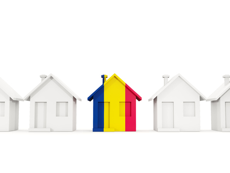 House with flag of chad in a row of white houses. Real estate concept. 3D illustration