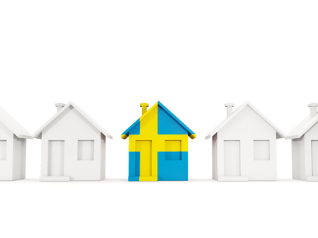 House with flag of sweden in a row of white houses. Real estate concept. 3D illustration Standard-Bild - 117363491