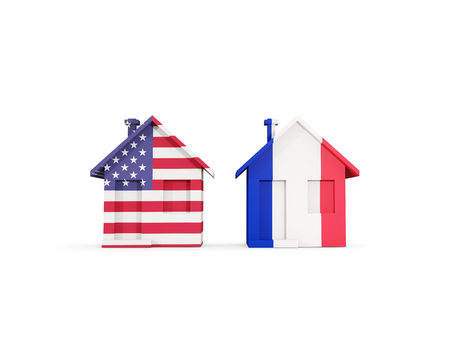Two houses with flags of United States and france isolated on white. Communication concept. 3D illustration