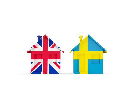 Two houses with flags of United Kingdom and sweden isolated on white. Communication concept. 3D illustration Standard-Bild - 117365460