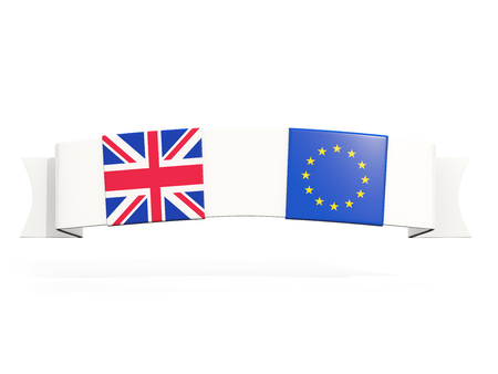 Banner with two square flags of United Kingdom and EU isolated on white. 3D illustration