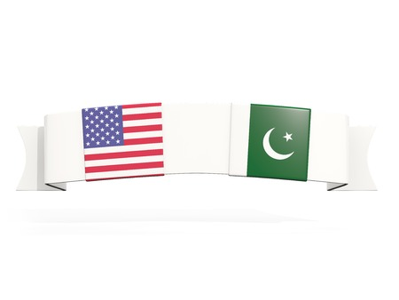 Banner with two square flags of United States and pakistan isolated on white. 3D illustration