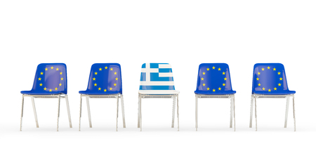 Row of chairs with flag of EU and greece  isolated on white
