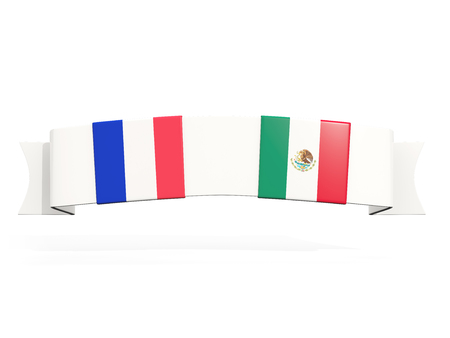 Banner with two square flags of France and mexico isolated on white. 3D illustration
