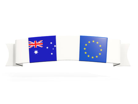 Banner with two square flags of Australia and European Union isolated on white. 3D illustration Banco de Imagens