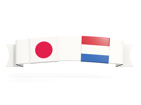 Banner with two square flags of Japan and netherlands isolated on white. 3D illustration Foto de archivo