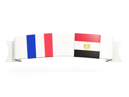 Banner with two square flags of France and egypt isolated on white. 3D illustration Banco de Imagens