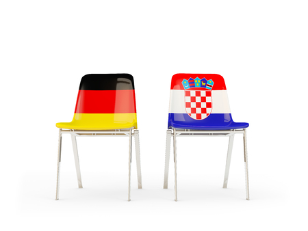 Two chairs with flags of Germany and croatia isolated on white. Communication/dialog concept. 3D illustration Фото со стока