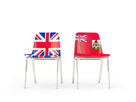 Two chairs with flags of United Kingdom and bermuda isolated on white. Communication/dialog concept. 3D illustration