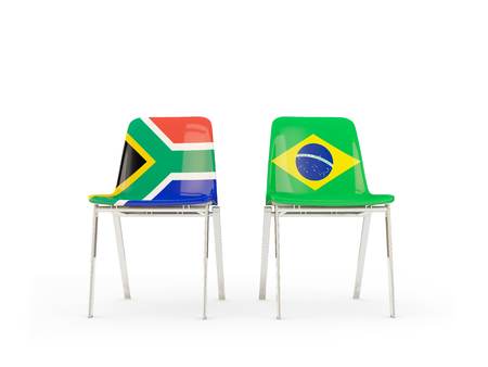 Two chairs with flags of South Africa and brazil isolated on white. Communicationdialog concept. 3D illustration