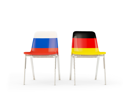 Two chairs with flags of Russia and germany isolated on white. Communicationdialog concept. 3D illustration