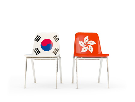 Two chairs with flags of South Korea and hong kong isolated on white. Communicationdialog concept. 3D illustration