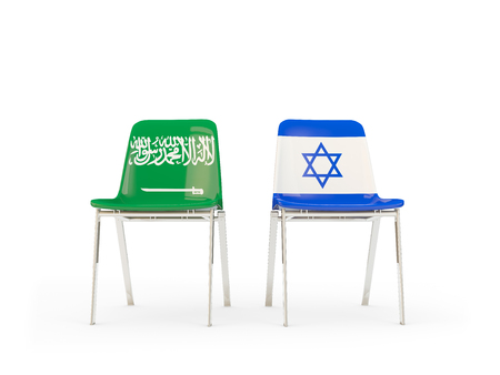Two chairs with flags of Saudi Arabia and israel isolated on white. Communicationdialog concept. 3D illustration 版權商用圖片