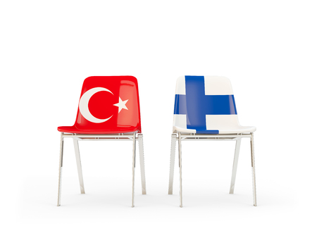 Two chairs with flags of Turkey and finland isolated on white. Communicationdialog concept. 3D illustration