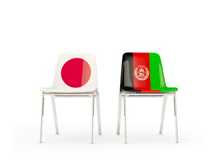 Two chairs with flags of Japan and afghanistan isolated on white. Communicationdialog concept. 3D illustration