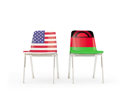 Two chairs with flags of United States and malawi isolated on white. Communicationdialog concept. 3D illustration
