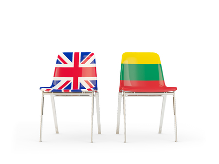 Two chairs with flags of United Kingdom and lithuania isolated on white. Communicationdialog concept. 3D illustration 版權商用圖片
