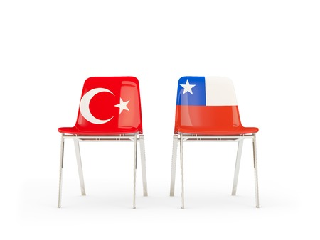 Two chairs with flags of Turkey and chile isolated on white. Communicationdialog concept. 3D illustration