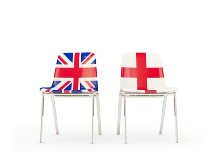 Two chairs with flags of United Kingdom and england isolated on white. Communicationdialog concept. 3D illustration