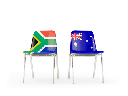 Two chairs with flags of South Africa and australia isolated on white. Communicationdialog concept. 3D illustration