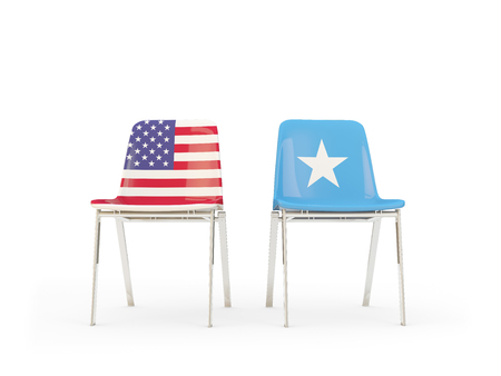 Two chairs with flags of United States and somalia isolated on white. Communicationdialog concept. 3D illustration 版權商用圖片