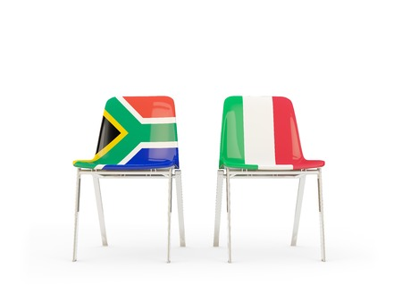 Two chairs with flags of South Africa and italy isolated on white. Communicationdialog concept. 3D illustration 版權商用圖片